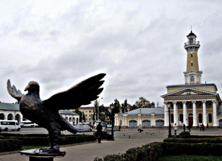 Сцентральной площади Костромы украли бронзовый монумент голубю